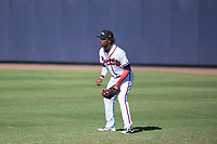 Peoria Javelinas right fielder Ronald Acuna (34), of the Atlanta Braves organization, during a game against the Scottsdale Scorpions on October 19, 2017 at Peoria Stadium in Peoria, Arizona. The Scorpions defeated the Javelinas 13-7.  (Zachary Lucy/Four Seam Images)