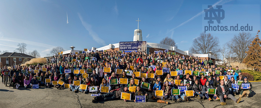 Jan. 22, 2015;  University of Notre Dame students gather for a photo outside St. Agnes Church in Arlington, Virginia before the 2015 March for Life. Some 700 University of Notre Dame students, faculty, staff and alumni participated in the 2015 March for Life in Washington, DC, which this year observes the 42nd anniversary of the Supreme Court's 1973 Roe v. Wade decision legalizing abortion. (Photo by Barbara Johnston/University of Notre Dame)