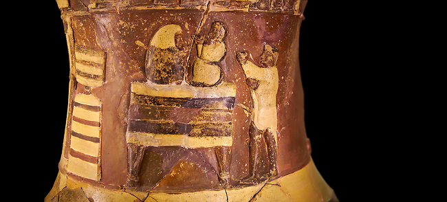 """Hüseyindede vases, Old Hittite Polychrome Relief vessel, second frieze down close up depicting two people on a """"bed throne"""" who are performing some sort of ritual, 16th century BC. . Çorum Archaeological Museum, Corum, Turkey. Against a black bacground."""