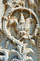 Bas relief sculpture decoration on the 12th century Romanesque facade of the Chiesa di San Pietro extra moenia (St Peters), Spoletto, Italy