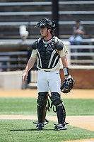 Wake Forest Demon Deacons catcher Ben Breazeale (39) on defense against the Pitt Panthers at David F. Couch Ballpark on May 20, 2017 in Winston-Salem, North Carolina. The Demon Deacons defeated the Panthers 14-4.  (Brian Westerholt/Four Seam Images)