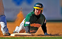 19 April 2009: University of Vermont Catamounts' outfielder Justin Milo, a Junior from Edina, MN, dives safely back to first during a game against the University at Albany Great Danes at Historic Centennial Field in Burlington, Vermont. The Great Danes defeated the Catamounts 9-4 in the second game of a double-header. Sadly, the Catamounts are playing their last season of baseball, as the program has been marked for elimination due to budgetary constraints on the University. Mandatory Photo Credit: Ed Wolfstein Photo