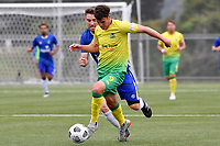Noah Boyce of Lower Hutt AFC controls the ball during the Central League Football - Petone FC v Lower Hutt AFC at Petone Memorial Park, Lower Hutt, New Zealand on Friday 2 April 2021.<br /> Copyright photo: Masanori Udagawa /  www.photosport.nz