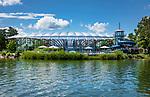 Deutschland, Bayern, Chiemgau, Prien am Chiemsee:  das Erlebnisbad Prienavera | Germany, Bavaria, Upper Bavaria, Chiemgau, Prien at Lake Chiem: modern architecture of waterpark Prienavera