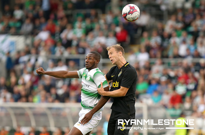 Daniel Carr of Shamrock Rovers in action against Per Karlssonof AIK during the UEFA Europa League First Qualifying Round First Leg between Shamrock Rovers and AIK on Thursday 12th July 2018 at Tallaght Stadium, Dublin. Photo By Michael P Ryan