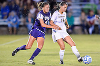 Texas State midfielder Maddie Nichols (15) and TCU defender Bobbi Clemmer (4) attempt to control the ball during NCAA soccer game, Friday, September 12, 2014 in San Marcos, Tex. TCU defeated Texas State 1-0. (Mo Khursheed/TFV Media via AP Images)