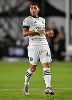 LAKE BUENA VISTA, FL - AUGUST 01: Marvin Loría #44 of the Portland Timbers looks on during a game between Portland Timbers and New York City FC at ESPN Wide World of Sports on August 01, 2020 in Lake Buena Vista, Florida.