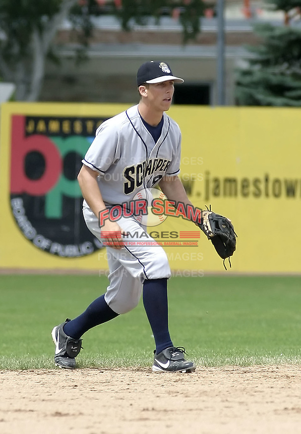 July 14, 2004:  Shortstop Brian Finegan of the Mahoning Valley Scrappers, Short-Season Low-A NY-Penn League affiliate of the Cleveland Indians, during a game at Russell Diethrick Park in Jamestown, NY.  Photo by:  Mike Janes/Four Seam Images