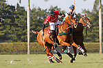 WELLINGTON, FL - FEBRUARY 19: Julian Arellano of Coca Cola controls the ball as Costi Caset looks on as Coca Cola 9 defeats Tonkawa 8 in overtime with a Golden Goal on a Penalty 2 by Julio Arellano, in the William Ylvisaker Cup Final, at the International Polo Club, Palm Beach on February 19, 2017 in Wellington, Florida. (Photo by Liz Lamont/Eclipse Sportswire/Getty Images)