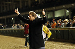 LOUISVILLE, KY -NOV 24: Trainer Dallas Stewart celebrates after a rider's objection against his horse Seeking the Soul (John Velazquez) was disallowed after winnning the 143rd running of the G1 Clark Handicap at Churchill Downs, Louisville, Kentucky. Owner Charles E. Fipke, trainer Dallas Stewart.  By Perfect Soul x Seeking the Title, by Seeking the Gold. (Photo by Mary M. Meek/Eclipse Sportswire/Getty Images)