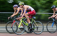 31 MAY 2014 - LONDON, GBR - Andrey Bryukhankov (RUS) (left) of Russia  and Andrew McCartney (CAN) (second from left) of Canada race around Hyde Park  during the men's 2014 ITU World Triathlon Series round in London, Great Britain (PHOTO COPYRIGHT © 2014 NIGEL FARROW, ALL RIGHTS RESERVED)