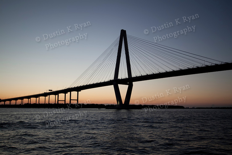 arthur ravenel jr bridge at dusk charleston south carolina cooper river