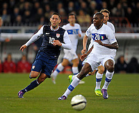 Clint Dempsey  (l, USA) vs. Angelo Obinze Ogbonna (r, ITA), during the friendly match Italy against USA at the Stadium Luigi Ferraris at Genoa Italy on february the 29th, 2012.