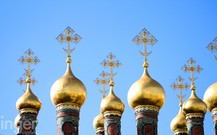 Orthodox church rooftops in the Kremlin, Moscow