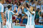 Leandro Paredes of Argentina (R) celebrates his score with Angel Di Maria (L) during the International Test match between Argentina and Singapore at National Stadium on June 13, 2017 in Singapore. Photo by Marcio Rodrigo Machado / Power Sport Images