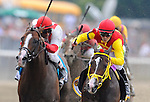 Trinniberg, risen by Willie Martinez, wins the Woody Stephens Stakes on Belmont Stakes Day in Elmont, New York on June 9, 2012.