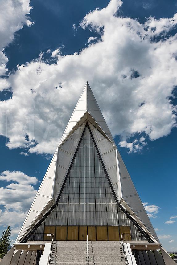 United States Air Force Academy Cadet Chapel, Colorado Springs, Colorado, USA.