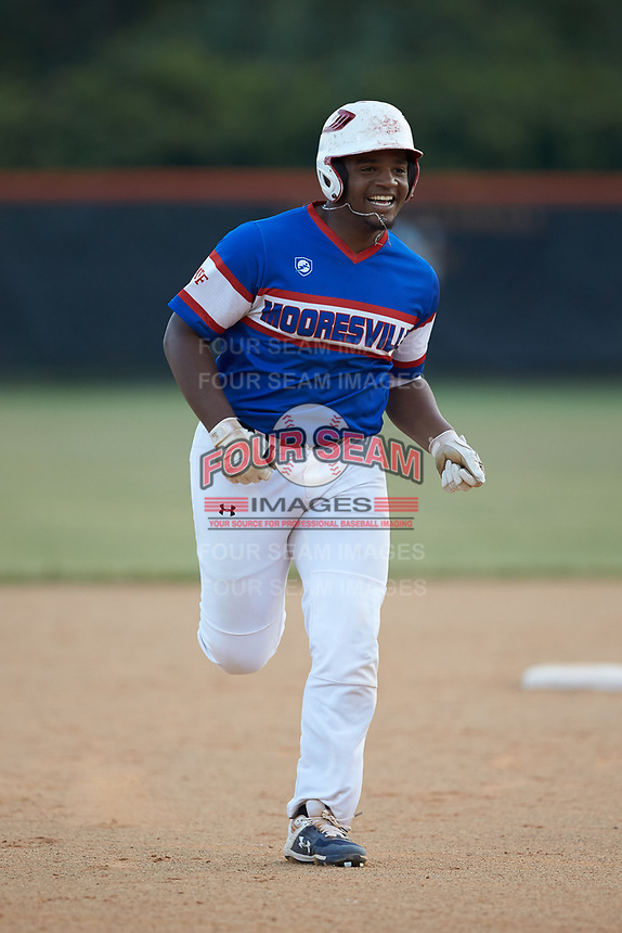Jeremy Green (6) of Mooresville Post 66 is all smiles as he rounds the bases after hitting a home run against Kannapolis Post 115 during an American Legion baseball game at Northwest Cabarrus High School on May 30, 2019 in Concord, North Carolina. Mooresville Post 66 defeated Kannapolis Post 115 4-3. (Brian Westerholt/Four Seam Images)