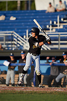West Virginia Black Bears second baseman Tristan Gray (2) at bat during a game against the Batavia Muckdogs on August 5, 2017 at Dwyer Stadium in Batavia, New York.  Batavia defeated Williamsport 3-2.  (Mike Janes/Four Seam Images)