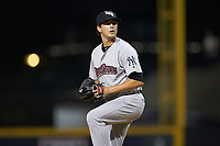 Scranton/Wilkes-Barre RailRiders relief pitcher Brady Lail (39) in action against the Gwinnett Stripers at Coolray Field on August 17, 2019 in Lawrenceville, Georgia. The Stripers defeated the RailRiders 8-7 in eleven innings. (Brian Westerholt/Four Seam Images)