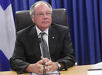 Commissioner Michel Bastarache waits for the commission to begin at the Inquiry Commission into the appointment process for judges, more well know as the Commission Bastarche, Monday, August 30, 2010 in Quebec City.<br /> <br /> PHOTO :  Francis Vachon - Agence Quebec Presse