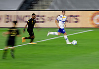 LOS ANGELES, CA - SEPTEMBER 02: Cristian Espinoza #10 of the San Jose Earthquakes races with the ball during a game between San Jose Earthquakes and Los Angeles FC at Banc of California stadium on September 02, 2020 in Los Angeles, California.