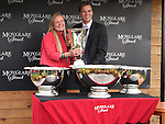 2012.09.09 - Horse Racing - The Curragh Racecourse - Moyglare Stud Stakes.Sky Lantern owners representative Anthony Rodgers receiving  the winners trophy after winning The Moyglare Stud Stakes at The Curragh Racecourse in Kildare, Ireland.