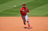 St. Louis Cardinals shortstop Edmundo Sosa (63) throws to first base during a Major League Spring Training game against the New York Mets on March 19, 2021 at Clover Park in St. Lucie, Florida.  (Mike Janes/Four Seam Images)