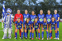 Gent's goalkeeper Nicky Evrard (1) , Gent's defender Silke Vanwynsberghe (21) , Gent's forward Jolet Lommen (9) , Gent's forward Lobke Loonen (19) , Gent's midfielder Chloe Vande Velde (10) , Gent's defender Heleen Jacques (4) and Gent's midfielder Elisabeth Meijerink (23) , Gent's midfielder Shari Van Belle (8) , Gent's defender Lindsey Van Belle (14) , Gent's forward Imani Prez (11) , Gent's forward Jasmien Mathys (12) pictured during a female soccer game between  AA Gent Ladies and Eendracht Aalst on the second matchday of the 2020 - 2021 season of Belgian Scooore Womens SuperLeague , friday 4 th of september 2020  in Oostakker , Belgium . PHOTO SPORTPIX.BE | SPP | STIJN AUDOOREN