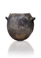 Neolithic terracotta pot . Catalhoyuk collection, Konya Archaeological Museum, Turkey. Against a white background