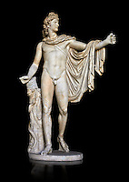 2nd century AD Roman statue of Apollo known as the Belvederre Apollo. The Apollo statue originally had a bow in its left hand and Apollo is depiceted having just fired an arrow.  Probably a Roman copy of a Hellenistic statue from around 330-320 BC by Leochares. Inv 1015, Vatican Museum Rome, Italy,  black background