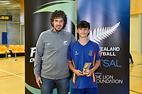 Golden Boot trophy winner, Rereao Grace of St Bernards, Futsal NZ Secondary Schools Junior Boys Final between Hamilton Boys High School and Selwyn College at ASB Sports Centre, Wellington on 26 March 2021.<br /> Copyright photo: Masanori Udagawa /  www.photosport.nz