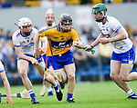 Gearoid O Grady of Clare  in action against Paddy Leevy and Sam Fitzgerald of Waterford during their Munster  championship round robin game at Cusack Park. half time score, Clare 2-09, Waterford 1-19. Photograph by John Kelly.