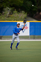 Toronto Blue Jays left fielder D.J. Neal (27) catches a fly ball during an Instructional League game against the Philadelphia Phillies on October 7, 2017 at the Englebert Complex in Dunedin, Florida.  (Mike Janes/Four Seam Images)