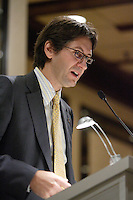 Montreal (Qc) CANADA -January 28, 2008 - EXCLUSIVE PHOTO-<br /> Jean-Francois Blais, President and Chief Executive Officer , AXA Canada (insurance company) speak at  the Canadian Club of Montreal's podium<br /> <br /> photo : (c) ROUSSEL - Images Distribution