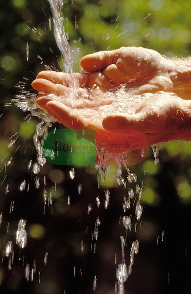 Man's hands catching flow of fresh water