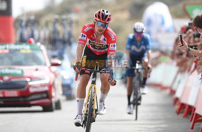 Race leader Red Jersey Primoz Roglic (SLO) Jumbo-Visma crosses the finish line in 2nd place ahead of Emric Mas (ESP) Movistar Team at the end of Stage 9 of La Vuelta d'Espana 2021, running 188km from Puerto Lumbreras to Alto de Velefique, Spain. 22nd August 2021.     <br /> Picture: Luis Angel Gomez/Photogomezsport | Cyclefile<br /> <br /> All photos usage must carry mandatory copyright credit (© Cyclefile | Luis Angel Gomez/Photogomezsport)