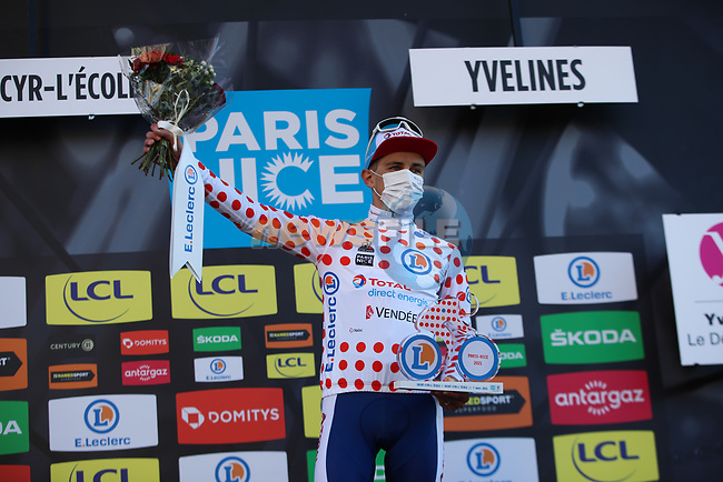 Fabien Doubey (FRA) Total Direct Energie wears the first mountains Polka Dot Jersey at the end of Stage 1 of Paris-Nice 2021, running 166km from Saint-Cyr-l'École to Saint-Cyr-l'École, France. 7th March 2021.<br /> Picture: ASO/Fabien Boukla | Cyclefile<br /> <br /> All photos usage must carry mandatory copyright credit (© Cyclefile | ASO/Fabien Boukla)