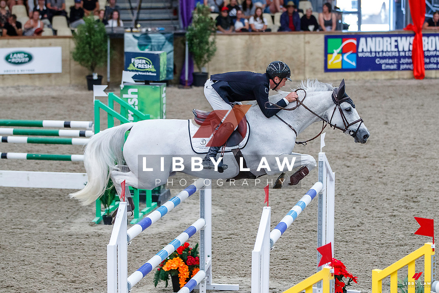NZL-Oliver Croucher rides Waitangi Surf. Class 23: Fiber Fresh Horse 1.40m Ranking Class. 2021 NZL-Easter Jumping Festival presented by McIntosh Global Equestrian and Equestrian Entries. NEC Taupo. Saturday 3 April. Copyright Photo: Libby Law Photography