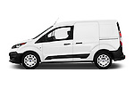 Car Driver side profile view of a 2018 Ford Transit-Connect Van-XL-SWB-(Rear-Liftgate) 5 Door Mini MPV Side View