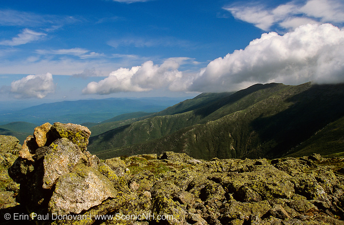 The Presidential Range from near the summit of Mount Monroe, along the Appalachian Trail (Crawford Path), in Sargent's Purchase in the New Hampshire White Mountains on a cloudy day.