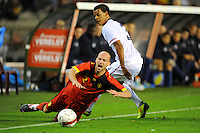 USA's Timmy Chandler (r) and Belgium's Laurent Ciman fight for the ball during the friendly match Belgium vs USA at King Baudoin stadium in Brussels, Belgium on September 06th, 2011.