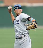 Outfielder Rafael Ortega (5) of the Asheville Tourists, Class A affiliate of the Colorado Rockies, prior to a game against the Greenville Drive on May 1, 2011, at Fluor Field at the West End in Greenville, S.C. Photo by Tom Priddy / Four Seam Images