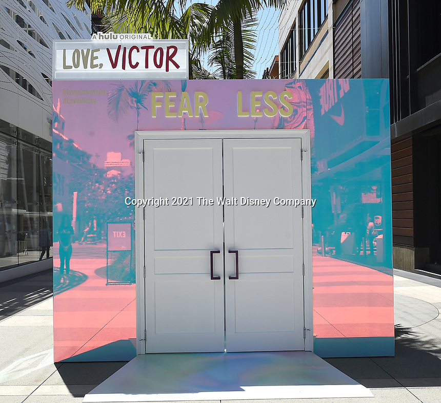 """SANTA MONICA, CA - JUNE 11: Hulu presents a special photo-activation in honor of Pride Month and the Season 2 premiere of the Hulu Original Series """"Love, Victor,"""" on June 11, 2021 in Santa Monica, California. (Photo by Frank Micelotta/Hulu/PictureGroup)"""