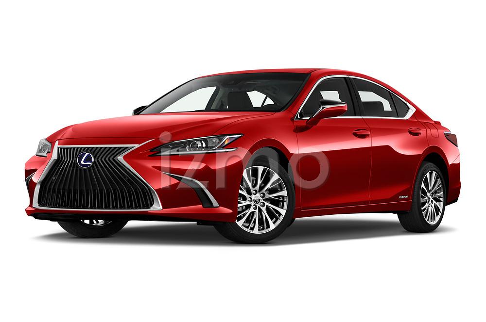 Stock pictures of low aggressive front three quarter view of a 2020 Lexus ES 300h 4 Door Sedan