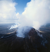 Aerial of an active volcano..