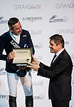 (L-R) Julien Epaillard of France and Juan Carlos Capelli at the Longines Speed Challenge during the Longines Hong Kong Masters 2015 at the AsiaWorld Expo on 13 February 2015 in Hong Kong, China. Photo by Juan Flor / Power Sport Images