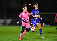 Ines Dhaou (5 Charleroi) pictured in a fight for the ball with Lobke Loonen (19 Gent) during a female soccer game between  AA Gent Ladies and Sporting Charleroi Feminin on the fifth matchday of the 2020 - 2021 season of Belgian Scooore Womens Super League , friday 16 th of October 2020  in Oostakker , Belgium . PHOTO SPORTPIX.BE | SPP | DAVID CATRY