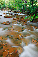 Water cascades down a mountain stream in Maryland.