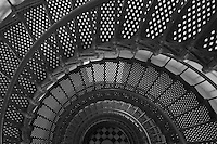 View looking down inside the tower and spiral staircase of the St. Augustine lighthouse.  The lighthouse, built in 1874, is 165 feet tall, has 219 steps, and 8 landings.